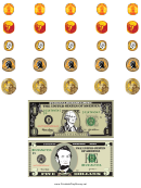 Dollar Bills And Coin Templates