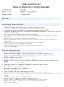 Position Description Template - Senior Systems Administrator