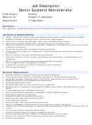 Position Description Template - Senior Systems Administrator