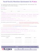 Social Security Maximizer Questionnaire For Women Template