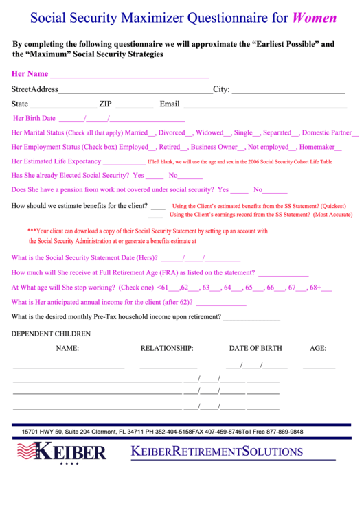 Social Security Maximizer Questionnaire For Women Template Printable pdf