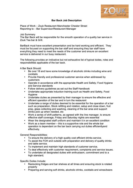 Bar Back Job Description Printable Pdf Download