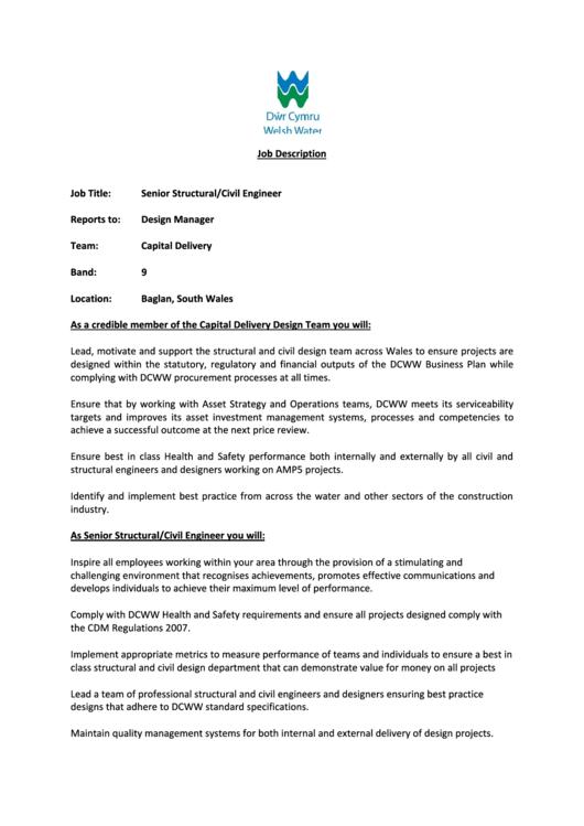 Senior Structural Civil Engineer Job Description Template printable ...