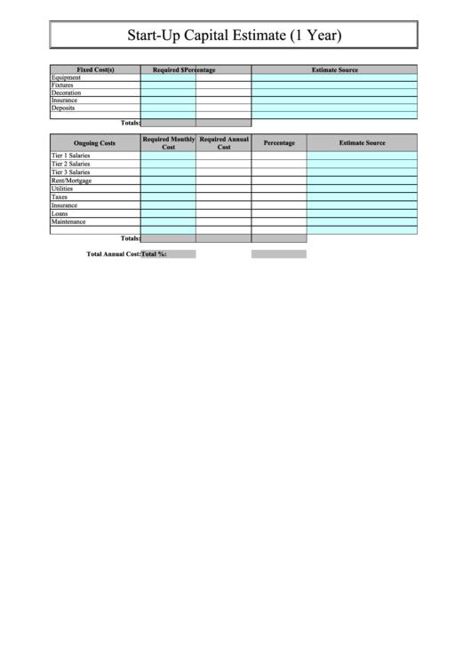 Start-up Capital Estimate Form
