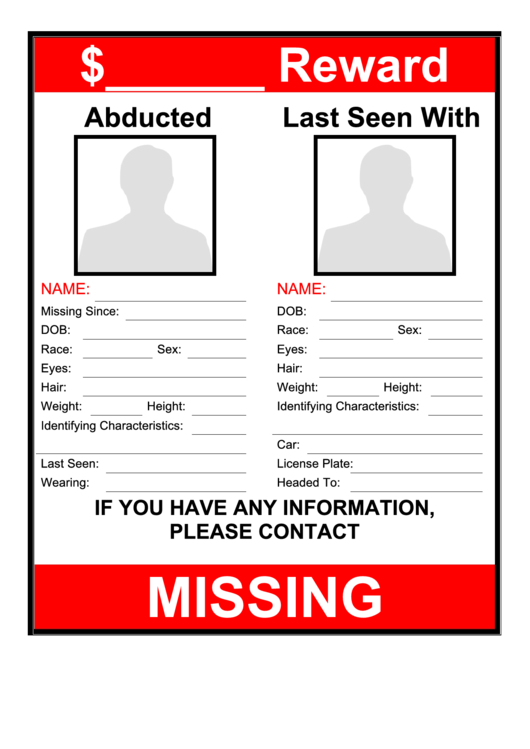 Abducted Person Poster Template With Reward