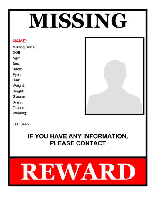 Missing Person Flyer Template Printable Pdf Download