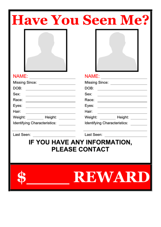 multiple missing persons poster template printable pdf