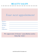 Beauty Salon Appointment Book Page Template