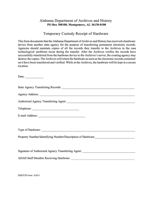 Temporary Custody Receipt Of Hardware Printable pdf