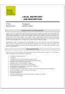 Legal Secretary Job Description Template