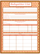 Babysitter List Template - Orange