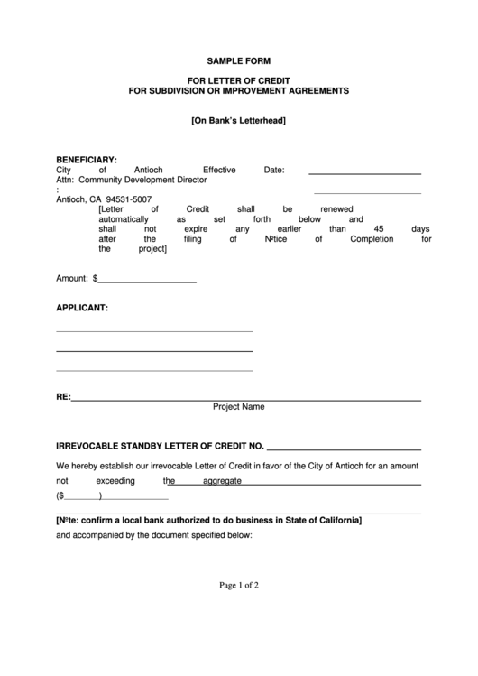 sample letter of credit template for subdivision or