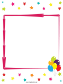 Stars And Balloons Party Border Template