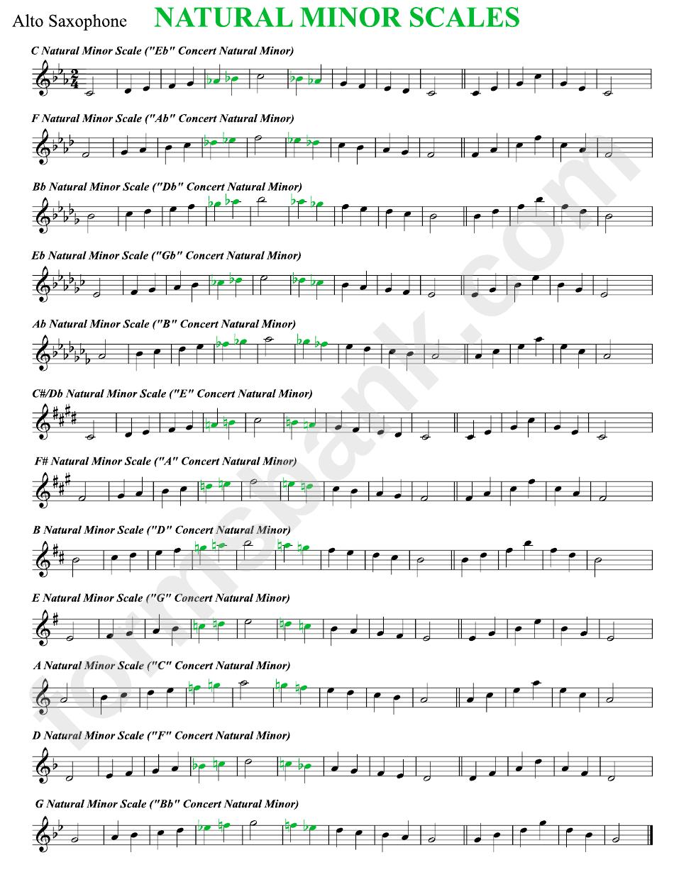 Natural Minor Scales Sheet Alto Sax Printable Pdf Download