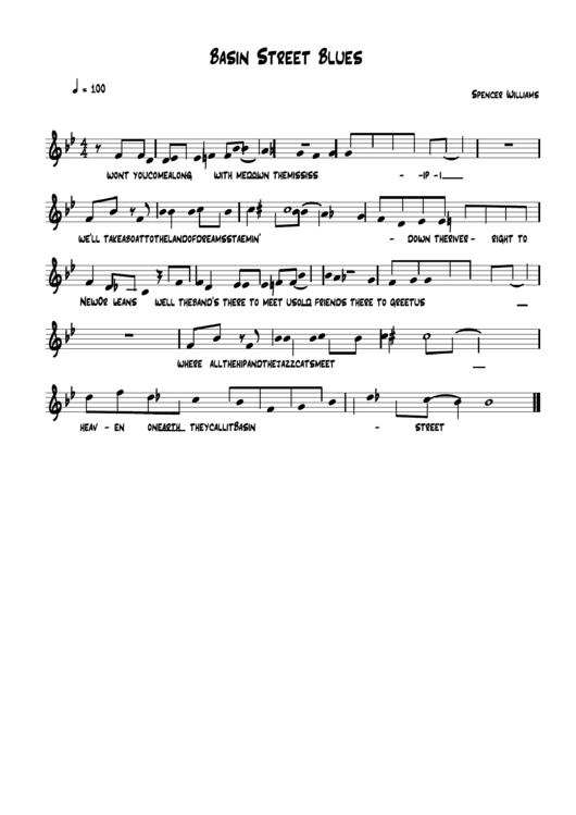 Top Basin Street Blues Sheets Music free to download in PDF format