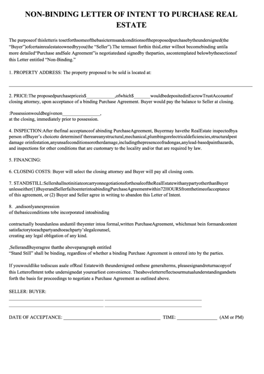non binding letter of intent to purchase real estate template