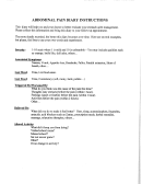 Abdominal Pain Diary Instructions And Template