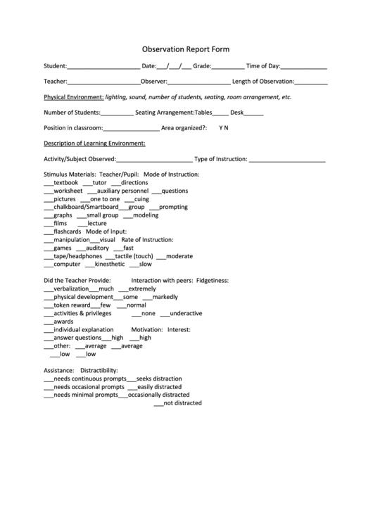 observation report form