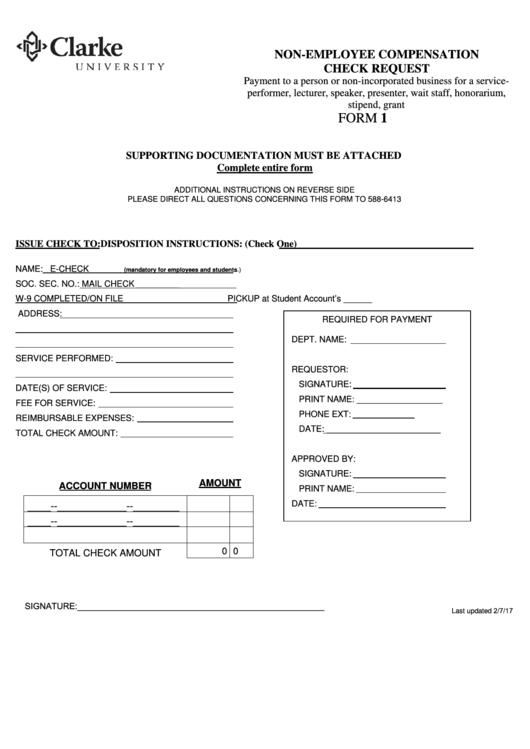 Non-employee Compensation Check Request Form