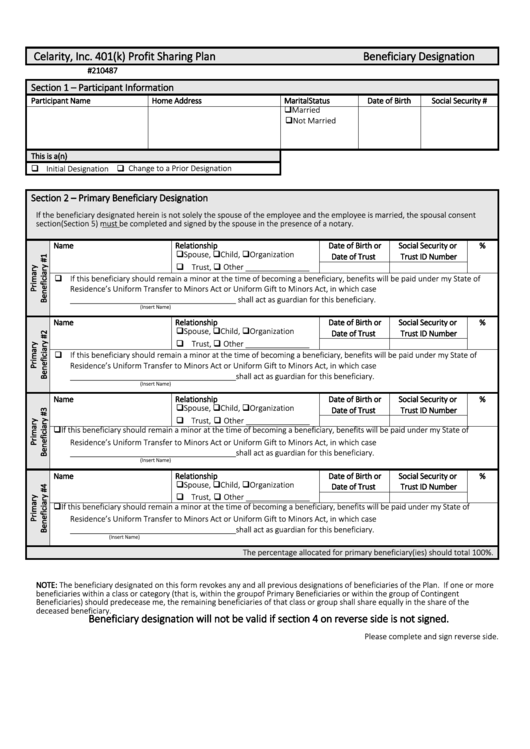 beneficiary designation form printable pdf download