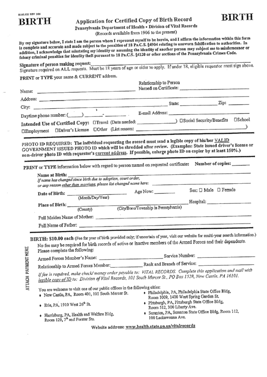 application for a certified copy of birth record