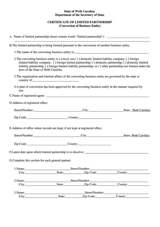 certificate state form carolina north secretary forms limited lp partnership pdf templates