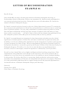 Letter Of Recommendation Sample - Medicine