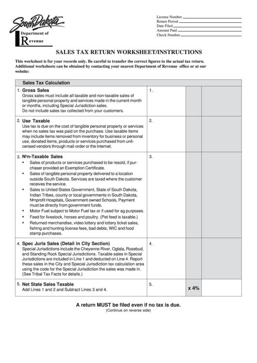 Sales Tax Return Worksheet Printable pdf