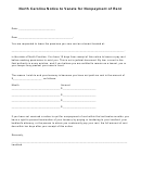 Notice To Vacate For Nonpayment Of Rent Form - North Carolina