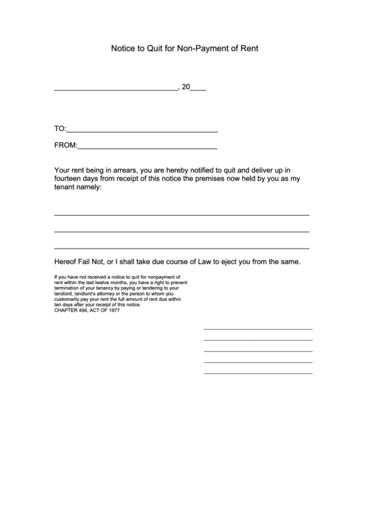Fillable Notice To Quit For Non-Payment Of Rent Form Printable pdf