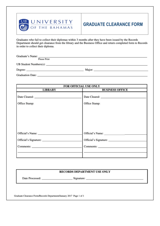 Graduate Clearance Form