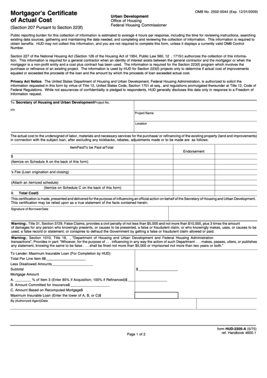 Form Hud-2205-a - Mortgagor's Certificate Of Actual Cost