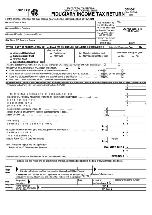 Sc1041 Form Fiduciary Income Tax Return Form - State Of South ...