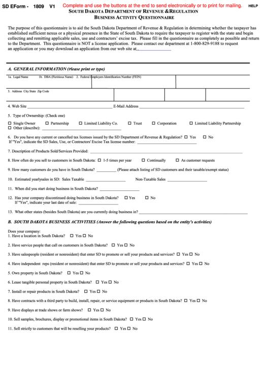 Fillable Sd E-Form 1809 - Business Activity Questionnaire Printable pdf