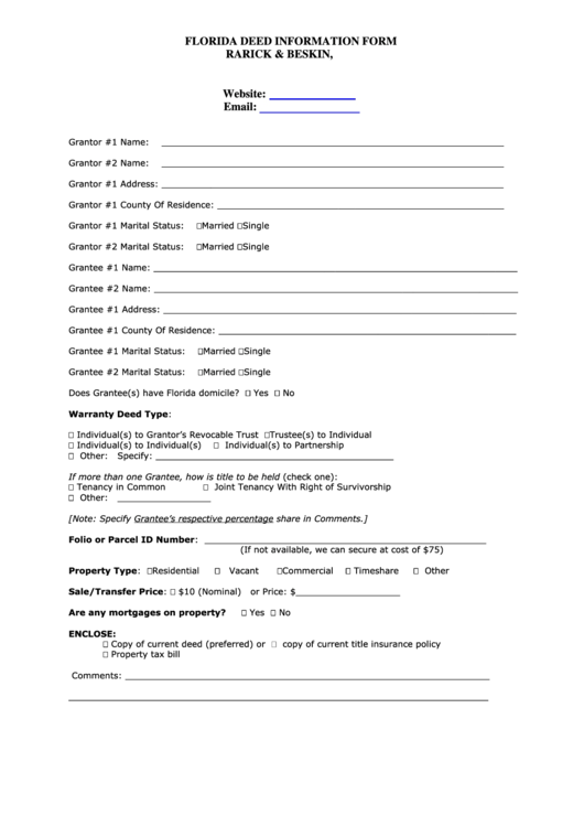 Florida deed information form sample printable pdf download for Transfer pricing policy template