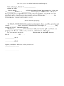 Bill Of Sale Form - Personal Property (state Of Georgia)