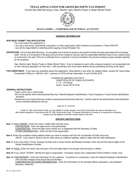 Texas Application Form For Gross Receipts Tax Permit printable pdf ...