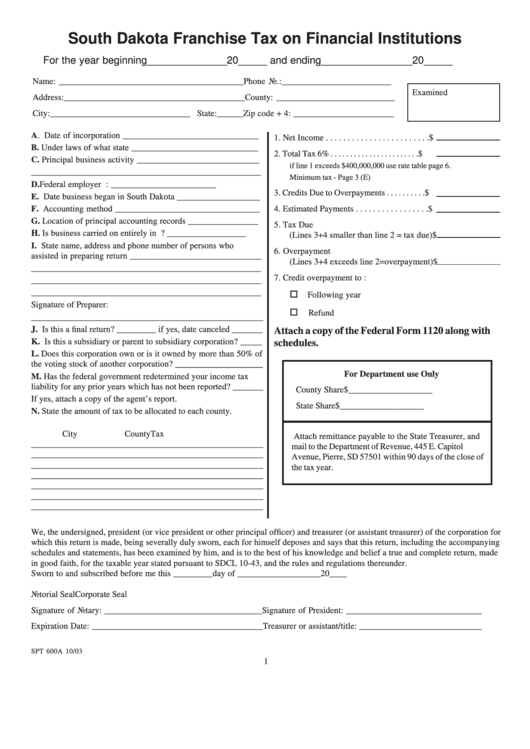 Form Spt 600a - South Dakota Franchise Tax On Financial Institutions - 2003 Printable pdf