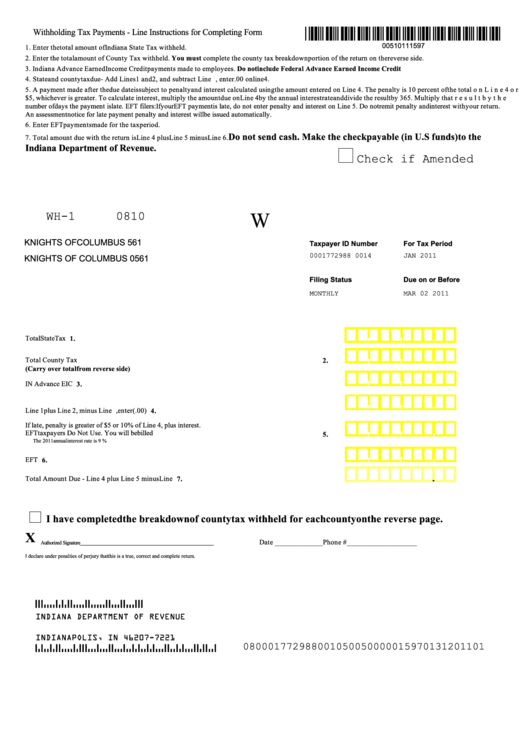 Form Wh-1 - Withholding Tax Form printable pdf download