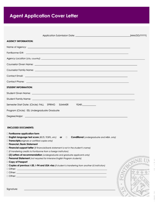 Fillable Agent Application Cover Letter Printable pdf
