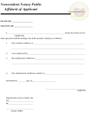 Nonresident Notary Public Affidavit Of Applicant Form - State Of Nevada
