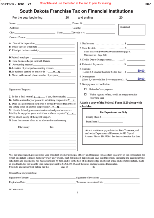 Fillable Form Spt 600a - South Dakota Franchise Tax On Financial Institutions - 2010 Printable pdf