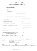 Utility Users Tax Return Form - City Of Oakland