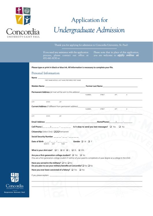 Application For Undergraduate Admission - Concordia University
