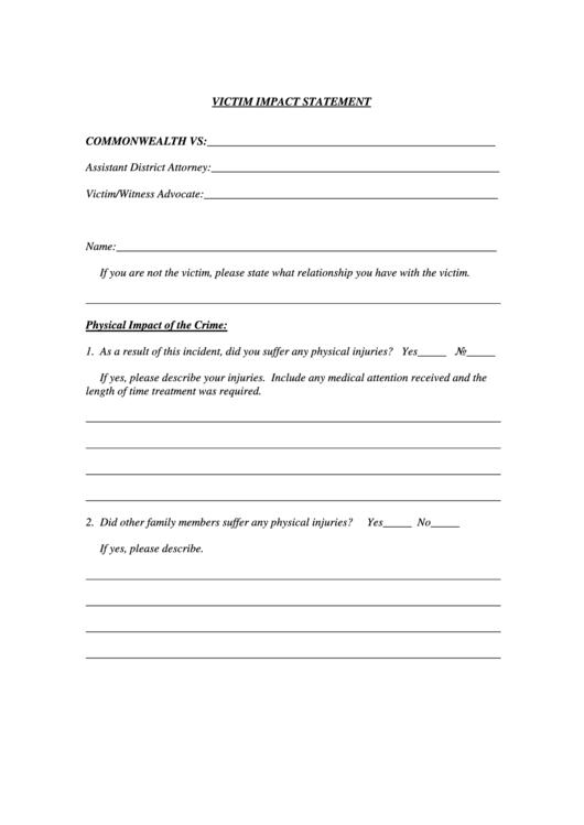 The Victim Impact Statement Form Printable Pdf Download