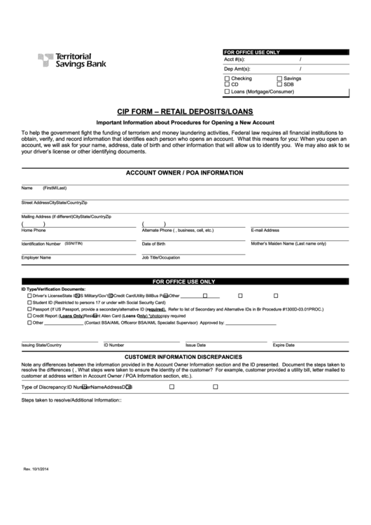 Cip Form - Retail Deposits/loans