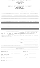Report Of Unclaimed Property Form - Rhode Island