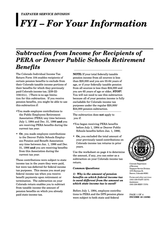 Worksheet For Recipients Of Pera Dps Pension Benefits Printable Pdf