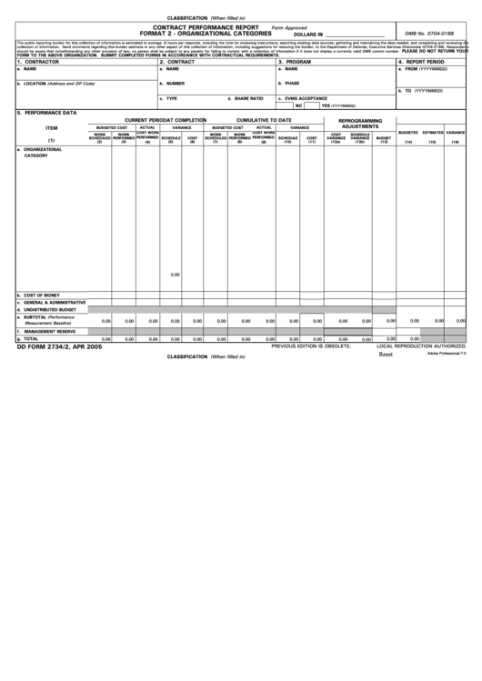 Fillable Dd Form 2734/2 - Contract Performance Report - Format 2 - Organizational Categories 2005 Printable pdf