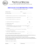 2010 Sales Tax Reporting Form - The City Of Whittier